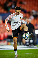 5th November 2019; Mestalla, Valencia, Spain; UEFA Champions League Football,Valencia versus Lille; Kangin Lee warms up prior to the game - Editorial Use
