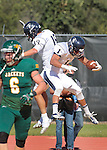 SEPTEMBER 13, 2014 -- Tim Crenshaw #1 of South Dakota Mines celebrates a touchdown with teammate Marcus Sanchez #19 during their college football game against Black Hills State Saturday at Lyle Hare Stadium in Spearfish, S.D.  (Photo by Dick Carlson/Inertia)