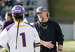 UAlbany Men's Lacrosse defeats Stony Brook on March 31 at Casey Stadium.  Albany coach Scott Marr and Tehoka Nanticoke (#1).