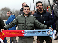 Fans arrive at The Etihad stadium, home of Manchester City<br /> <br /> Photographer Rich Linley/CameraSport<br /> <br /> UEFA Champions League Quarter-Final Second Leg - Manchester City v Liverpool - Tuesday 10th April 2018 - The Etihad - Manchester<br />  <br /> World Copyright &copy; 2017 CameraSport. All rights reserved. 43 Linden Ave. Countesthorpe. Leicester. England. LE8 5PG - Tel: +44 (0) 116 277 4147 - admin@camerasport.com - www.camerasport.com