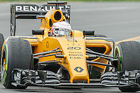 March 18, 2016: Kevin Magnussen (DEN) #20 from the Renault Sport F1 team rounds turn 2 during practise session one at the 2016 Australian Formula One Grand Prix at Albert Park, Melbourne, Australia. Photo Sydney Low