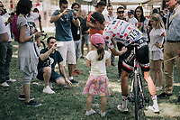 Polka Dot Jersey / KOM leader Warren Barguil (FRA/Sunweb) posing with a little fan at the start<br /> <br /> 104th Tour de France 2017<br /> Stage 14 - Blagnac › Rodez (181km)