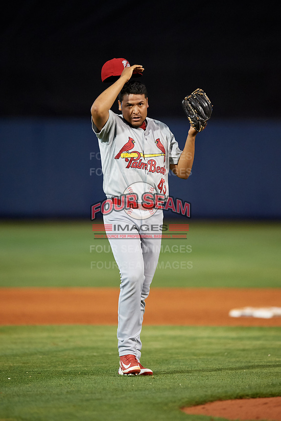 Palm Beach Cardinals relief pitcher Jesus Cruz (43) during a game against the Charlotte Stone Crabs on April 20, 2018 at Charlotte Sports Park in Port Charlotte, Florida.  Charlotte defeated Palm Beach 4-3.  (Mike Janes/Four Seam Images)