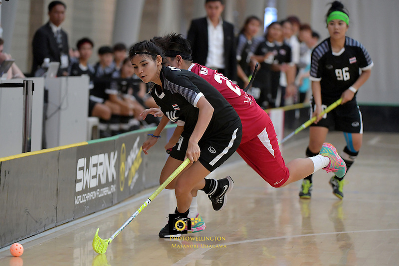 Thailand's Kanyanut Nakpolkrung in action during the World Floorball Championships 2017 Qualification for Asia Oceania Region - Singapore v Thailand at ASB Sports Centre , Wellington, New Zealand on Sunday 5 February 2017.<br /> Photo by Masanori Udagawa<br /> www.photowellington.photoshelter.com.