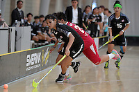 Thailand&rsquo;s Kanyanut Nakpolkrung in action during the World Floorball Championships 2017 Qualification for Asia Oceania Region - Singapore v Thailand at ASB Sports Centre , Wellington, New Zealand on Sunday 5 February 2017.<br /> Photo by Masanori Udagawa<br /> www.photowellington.photoshelter.com.