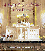"Washington, DC - December 3, 2008 -- Front cover of the program for the 2008 White House Christmas decorations in Washington, D.C. on Wednesday, December 3, 2008.  The cover art was created by Peter Catalanotto, of Doylestown, Pennsylvania, an illustrator and illustrator of many children's books including ""Happy Birthday America"".  The theme of the 2008 decorations is ""A Red, White, and Blue Christmas""..Credit: Ron Sachs / CNP"