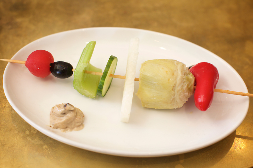 Brooklyn, NY - August 19, 2016:  Raw Veggie Skewer with black garlic mayo by Vendy Awards Best Vegan nominee Vegan Bandwagon.<br /> <br /> CREDIT: Clay Williams for Gothamist.<br /> <br /> &copy; Clay Williams / claywilliamsphoto.com