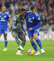 Leicester City's Demarai Gray takes a quick freekick under pressure from Cardiff City's Callum Paterson<br /> <br /> Photographer Kevin Barnes/CameraSport<br /> <br /> The Premier League -  Cardiff City v Leicester City - Saturday 3rd November 2018 - Cardiff City Stadium - Cardiff<br /> <br /> World Copyright © 2018 CameraSport. All rights reserved. 43 Linden Ave. Countesthorpe. Leicester. England. LE8 5PG - Tel: +44 (0) 116 277 4147 - admin@camerasport.com - www.camerasport.com