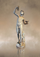 Roman marble sculpture of Faun, a 2nd century AD copy from an original of a late 2nd - 1st century BC late Hellanistic Greek original, inv 6332 - Farnese Collection, Naples Museum of Archaeology, Italy