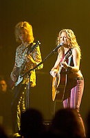June 8, 2002, Montreal, Quebec, Canada<br /> <br /> Sheryl Crow perform for the guests  of  a private party held a Mel's studio (where studio scenes of The Sums of All Fear where shot)<br /> during the F-1 Grand Prix week end Montreal, Canada, June 8, 2002.<br /> <br /> (Pierre Roussel - ImagesDistribution<br /> <br /> NOTE Nikon D-1 jpeg opened with Qimage icc profile, saved in Adobe 1998 RGB.