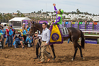DEL MAR, CA - NOVEMBER 03: Javier Castellano celebrates after riding Rushing Fall #11, to victory in the Juvenile Fillies Turf race on Day 1 of the 2017 Breeders' Cup World Championships at Del Mar Thoroughbred Club on November 3, 2017 in Del Mar, California. (Photo by Bill Denver/Eclipse Sportswire/Breeders Cup)