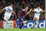 Football - FC Barcelona v Inter Milan UEFA Champions League Semi Final Second Leg - Camp Nou Stadium, Barcelona, Spain - 28/4/10 Inter Milan's Walter Samuel and Camoranessi and Zlatan Ibrahimovic of Barcelona