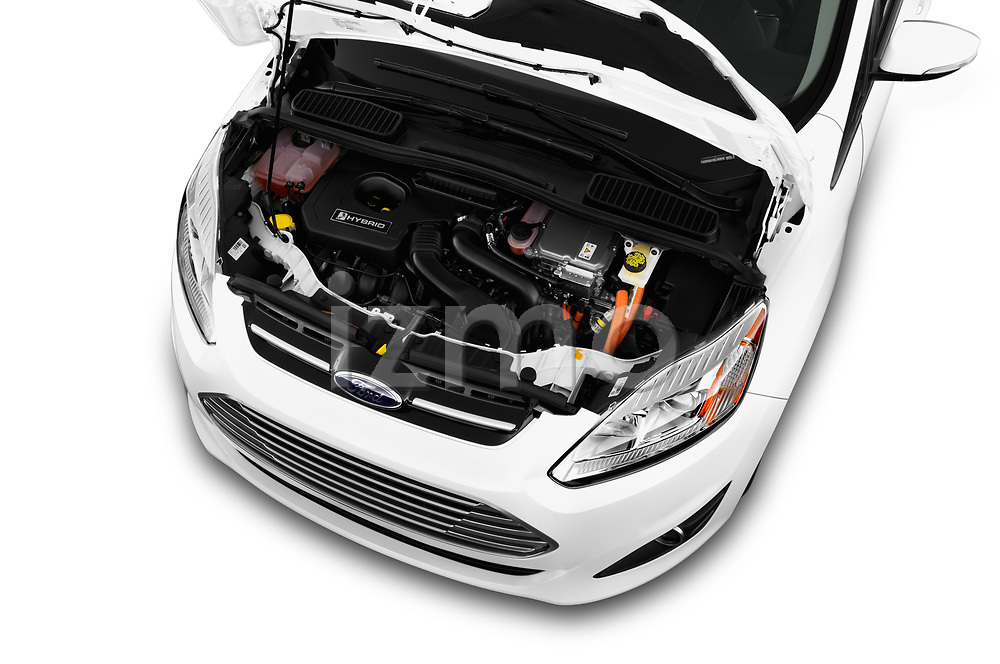 Car stock 2018 Ford C-Max Hybrid Titanium 5 Door Mini Van engine high angle detail view
