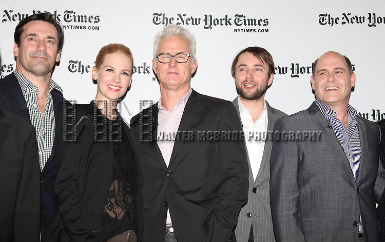 Jon Hamm, January Jones, John Slattery, Vinceny Kartheiser & Matthew Weiner.attending the TimesTalks 'Mad Men' A Conversation with Creator and Cast at Times Center in New York City on March 20, 2012.