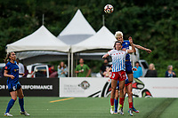 Seattle, WA - Wednesday, June 28, 2017: Arin Gilliland and Megan Rapinoe during a regular season National Women's Soccer League (NWSL) match between the Seattle Reign FC and the Chicago Red Stars at Memorial Stadium.
