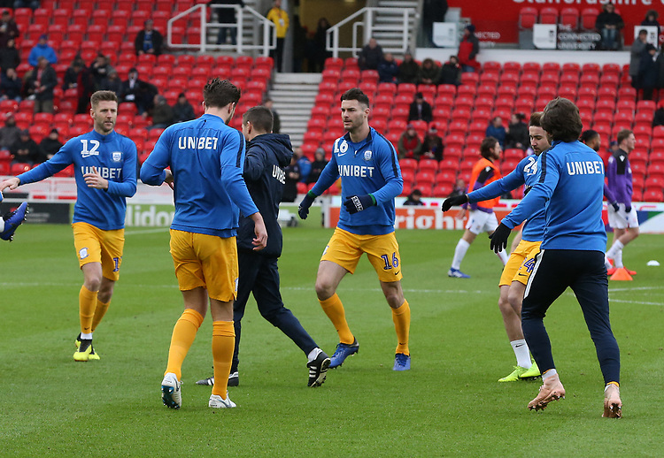 Preston North End players during the pre-match warm-up <br /> <br /> Photographer Stephen White/CameraSport<br /> <br /> The EFL Sky Bet Championship - Stoke City v Preston North End - Saturday 26th January 2019 - bet365 Stadium - Stoke-on-Trent<br /> <br /> World Copyright © 2019 CameraSport. All rights reserved. 43 Linden Ave. Countesthorpe. Leicester. England. LE8 5PG - Tel: +44 (0) 116 277 4147 - admin@camerasport.com - www.camerasport.com
