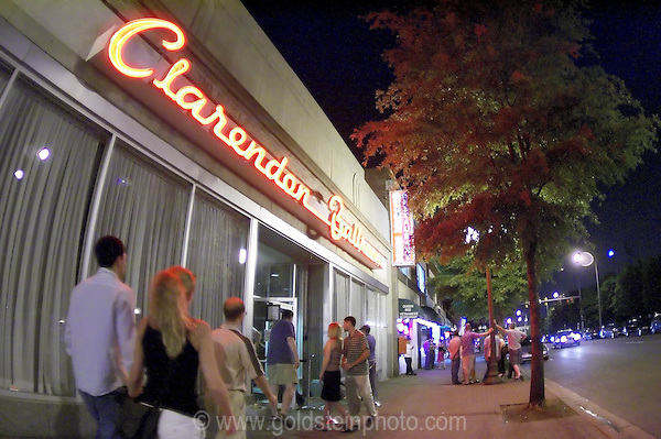 People entering Clarendon Ballroom exterior at night. Clarendon section of Arlington VIrginia.  This is a suburb of Washington DC.