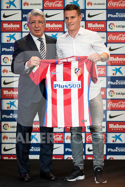 President of Atletico de Madrid, Enrique Cerezo and French football player Kevin Gameiro is present like new Atletico de Madrid's football player for the next season 2016-2017 at Vicente Calderon Stadium in Madrid. July 31, Spain. 2016. (ALTERPHOTOS/BorjaB.Hojas)