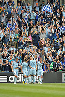 Sporting KC players celebrate Claudio Bieler's opening goal..Sporting Kansas City defeated Chivas USA 4-0 at Sporting Park, Kansas City, Kansas.