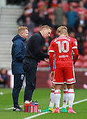 30th September 2017, Riverside Stadium, Middlesbrough, England; EFL Championship football, Middlesbrough versus Brentford; Garry Monk the Middlesbrough Manager gives instructions to Martin Braithwaite  before the 2-2 draw