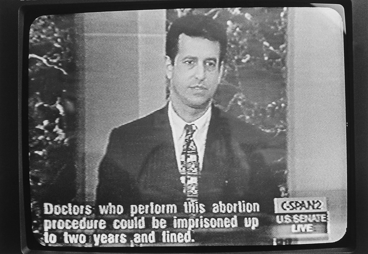 Sen. Russ Feingold, D-Wis., pictured speaking on CSPAN about partial birth abortion. 1992 (Photo by/CQ Roll Call via Getty Images)