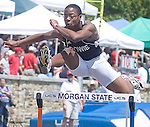 The Gazette Bowie High School's Anthony Simpson leaps a hurdle during the 4A 300 meter hurdles coming in 6th place during the Maryland state track and field championships at Morgan State University in Baltimore on Saturday.