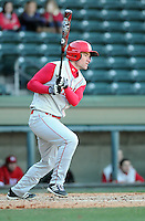 Third baseman Dan Walsh (7) of the Miami (Ohio) Redhawks hits in a game against the Furman Paladins on Sunday, February 17, 2013, at Fluor Field at the West End in Greenville, South Carolina. Furman won, 6-5. (Tom Priddy/Four Seam Images).