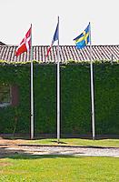 A Danish, French and Swedish flag in front of the chateau. Chateau de Haux Premieres Cotes de Bordeaux Entre-deux-Mers Bordeaux Gironde Aquitaine France