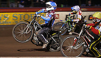 Heat 8: Stuart Robson (blue) lifts while chased by Justin Sedgmen (white) and  Morten Risager (yellow) - Lakeside Hammers vs Swindon Robins, Elite League Speedway at the Arena Essex Raceway, Purfleet - 03/09/10 - MANDATORY CREDIT: Rob Newell/TGSPHOTO - Self billing applies where appropriate - 0845 094 6026 - contact@tgsphoto.co.uk - NO UNPAID USE.