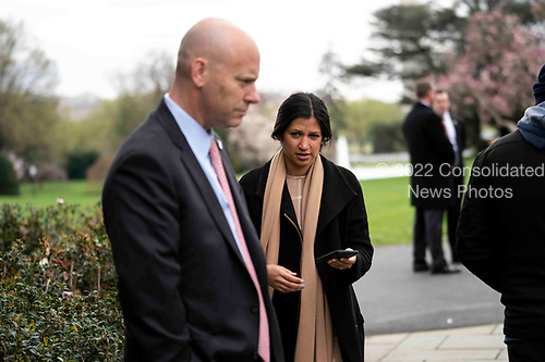 Marc Short, Chief of Staff  for Vice President Mike Pence, left, talks with  Katie Miller, Vice President Mike Pence's press secretary as United States President Donald J. Trump and Vice President Mike Pence participate in a Fox News Virtual Town Hall with Anchor Bill Hemmer, in the Rose Garden of the White House Tuesday, March, 24, 2020. <br /> Credit: Doug Mills / Pool via CNP