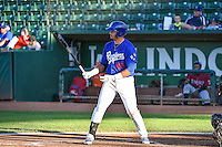 Edwin Rios (47) of the Ogden Raptors at bat against the Idaho Falls Chukars in Pioneer League action at Lindquist Field on August 27, 2015 in Ogden, Utah. Ogden defeated the Chukars 4-3.  (Stephen Smith/Four Seam Images)