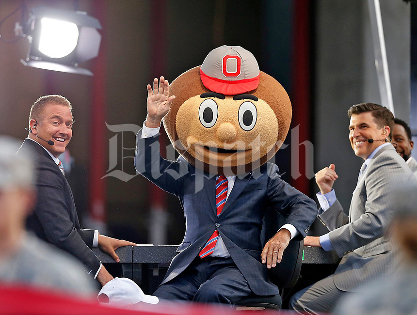 Former Indiana coach Lee Corso picks the Ohio State Buckeyes for the win over his former Hoosiers on ESPN's College Game Day before Thursday's NCAA Division I football game at Memorial Stadium in Bloomington, Ind., on August 31, 2017. [Barbara J. Perenic/Dispatch]