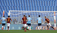 Calcio, Serie A: Roma vs Lazio. Roma, stadio Olimpico, 8 novembre 2015.<br /> Roma's Edin Dzeko, right, celebrates after scoring on a penalty kick during the Italian Serie A football match between Roma and Lazio at Rome's Olympic stadium, 8 November 2015.<br /> UPDATE IMAGES PRESS/Isabella Bonotto