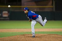 AZL Rangers relief pitcher Joel Urena (35) follows through on his delivery against the AZL Giants on September 4, 2017 at Scottsdale Stadium in Scottsdale, Arizona. AZL Giants defeated the AZL Rangers 6-5 to advance to the Arizona League Championship Series. (Zachary Lucy/Four Seam Images)