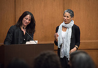 Critically acclaimed novelist Rebecca Walker, named by Time Magazine as one of the most influential leaders of her generation, in conversation about Black Multiraciality with professor Danzy Senna in Dumke Commons on Feb. 4, 2016. Organized by the Black Student Alliance as part of Black History Month.<br /> (Photo by Marc Campos, Occidental College Photographer)