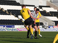 Tyler Fulton tackles Anton Brady in the St Mirren v Falkirk Clydesdale Bank Scottish Premier League Under 20 match played at St Mirren Park, Paisley on 30.4.13.