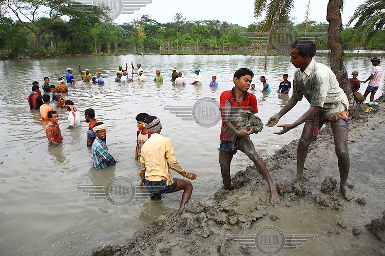 People work to rebuild a path washed away by Cyclone Aila. Thousands of people were displaced in Shyamnagar Upazila, Satkhira district after Cyclone Aila struck Bangladesh on 25/05/2009, triggering tidal surges and floods..