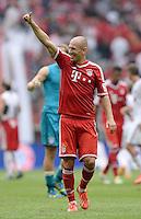 Fussball  1. Bundesliga  Saison 2013/2014  3. Spieltag FC Bayern Muenchen - 1. FC Nuernberg       24.08.2013 SCHLUSSJUBEL, Arjen Robben (FC Bayern Muenchen)