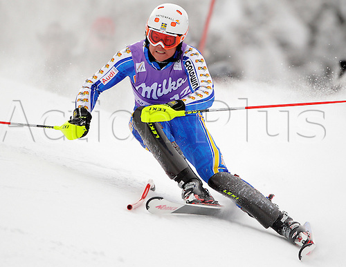 Eight after first run Mattias Hargin of Sweden skiing in first run of Men slalom race of Audi FIS alpine skiing World Cup in Kranjska Gora, Slovenia. Slalom race of Men Audi FIS Alpine skiing World Cup 2009-10, was held on Sunday in Kranjska Gora, Slovenia, on 31st of January 2010. Photo Primoz/Actionplus - Editorial Use No Sweden or Finland