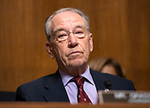 United States Senator Chuck Grassley (Republican of Iowa) as he chairs the US Senate Committee on the Judiciary meeting where they will vote on the nomination of Judge Brett Kavanaugh to be Associate Justice of the US Supreme Court to replace the retiring Justice Anthony Kennedy on Capitol Hill in Washington, DC on Friday, September 28, 2018.  If the committee votes in favor of Judge Kavanaugh then it goes to the full US Senate for a final vote.<br /> Credit: Ron Sachs / CNP<br /> (RESTRICTION: NO New York or New Jersey Newspapers or newspapers within a 75 mile radius of New York City)