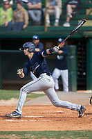 Andrew Llewellyn (8) of the Wingate Bulldogs follows through on his swing against the Catawba Indians at Newman Park on March 19, 2017 in Salisbury, North Carolina. The Indians defeated the Bulldogs 12-6. (Brian Westerholt/Four Seam Images)
