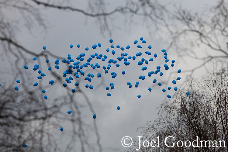 © Joel Goodman - 07973 332324 . 17/03/2012 . Staffordshire , UK . 190 blue balloons are released in honour of PC Rathband's call sign (Tango 190) and the Blue Lamp Foundation . The funeral of former police officer David Rathband , at Stafford Crematorium . Rathband was found dead at his home in Blyth on 29th February 2012 . He was shot and blinded by killer Raoul Moat whilst he was on duty in the early hours of 4th July 2010 and went on to campaign for the Blue Lamp Foundation , which supports emergency staff injured in the line of duty , but he was reported to have never overcome the psychological impact of his injuries . Photo credit : Joel Goodman