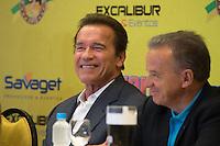 RIO DE JANEIRO, RJ, 29.05.2015 - <br /> Coletiva de imprensa com o ator e ex- fisiculturista Arnold Schwarzenegger no Hotel Barra Windsor, no Rio de Janeiro, na tarde desta sexta-feira (29). Ele está na cidade para participar do evento Arnold Classic Brasil 2015. (Foto: João Mattos/Brazil Photo Press)