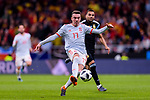 Iago Aspas of Spain (L) attempts a kick for scoring his goal during the International Friendly 2018 match between Spain and Argentina at Wanda Metropolitano Stadium on 27 March 2018 in Madrid, Spain. Photo by Diego Souto / Power Sport Images