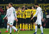 February 5th 2019, Dortmund, Germany, German DFB Cup round of 16, Borussia Dortmund versus SV Werder Bremen;  Dortmund's players celebrate their goal for 1:1 by Marco Reus