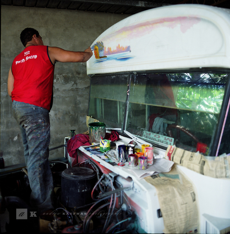 The Red Devils of Panama.Panama City has a very unique Private/Public transportation system. The system is known by the nickname of the buses. The Diablo Rojos aka The Red Devils. They get their name by the red and white paint that the buses are adorned with. The Diablo Rojos are former school buses from the USA that were imported because of the cheap price and endless use the bus drivers put them through on the dusty highways of Panama. The Diablo Rojos have quite an infamous reputation. The bus drivers race from stop to stop to get the fares waiting patiently. Panamanians will wait for a bus that is painted the coolest. They want to be seen in the very best looking Diablo Rojo. It is a status symbol of the Panamanian people. Who is responsible for the look of the Diablo Rojo? Well, Yoyo is the godfather of the Diablo Rojo artists. He is 82 years old and has been painting thousands of buses for more the 50 years. Andreas Salazar another painter is known quite simply as Salazar to the public. When he walks the city streets he can hear his name being called. Salazar has had many assistants who have gone on to be well known artists in the Diablo Rojo genre. In Chorrera another well known artist is Monchi. Each has their own style and protocal for how the create these master works of art and moving murals. .Each bus has a driver and a Pavo. The pavo collects the fare and alerts the passengers as to the route the bus is taking. .The Panamanian Government is trying to replace the Diablo Rojo with a street car system and proponents of the Diablo Rojo are afraid a culture and a way of life will forever disappear with these old american school buses.