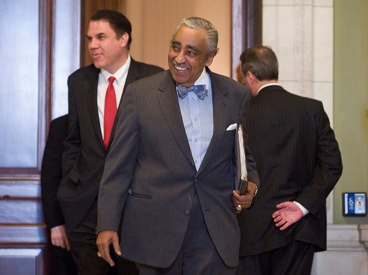 Rep. Charlie Rangel, D-N.Y. leaves the House Democrats' caucus meeting in the Cannon Caucus Room on Wednesday, March 3, 2010.