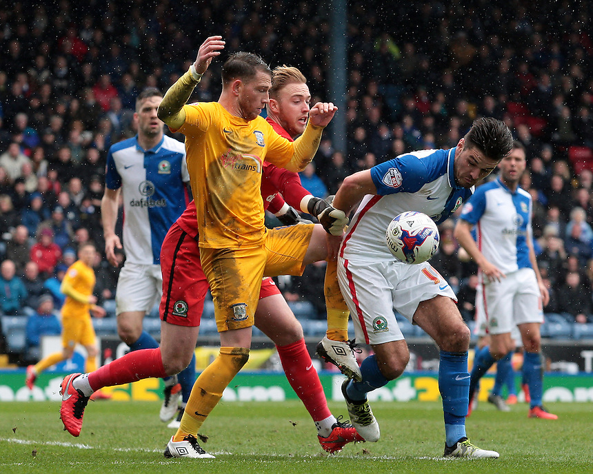 Blackburn Rovers' goalkeeper Jason Steele gets to the ball ahead of Preston North End's Joe Garner<br /> <br /> Photographer David shipman/CameraSport<br /> <br /> Football - The Football League Sky Bet Championship - Blackburn Rovers v Preston North End - Saturday 2nd April 2016 - Ewood Park - Blackburn<br /> <br /> &copy; CameraSport - 43 Linden Ave. Countesthorpe. Leicester. England. LE8 5PG - Tel: +44 (0) 116 277 4147 - admin@camerasport.com - www.camerasport.com