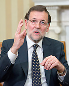 Mariano Rajoy Brey, President of the Government of the Kingdom of Spain (Prime Minister) answers a reporter's question as he meets United States President Barack Obama (not pictured) in the Oval Office of the White House in Washington, D.C. on Monday, January 13, 2014.<br /> Credit: Ron Sachs / Pool via CNP