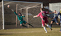 Alloa's Graeme Holmes scores their fourth goal.
